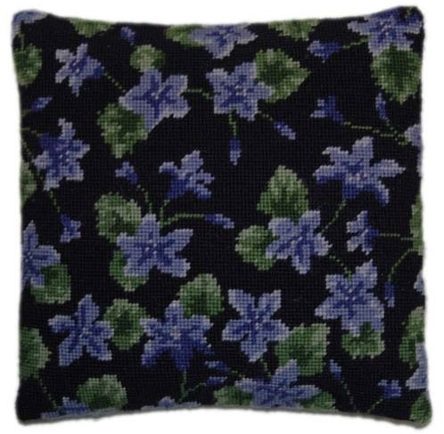 Campanula on Purple Herb Pillow Tapestry