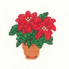 Poinsettias - Mini Cross Stitch Kit - Beginners