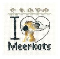I Love Meerkats - Mini Cross Stitch Kit - Beginners