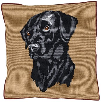 Black Labrador Beige - Cross Stitch (printed canvas)