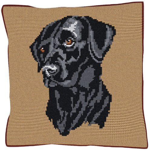 Black Labrador Beige - Cross Stitch (printed canvas)