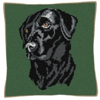 Black Labrador Green - Cross Stitch (printed canvas)