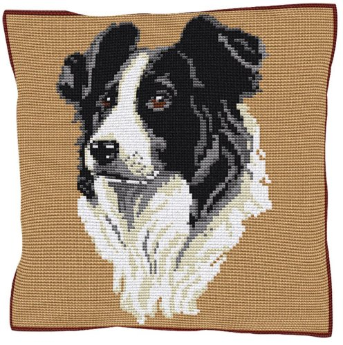 Border Collie Beige - Cross Stitch Kit (printed canvas)