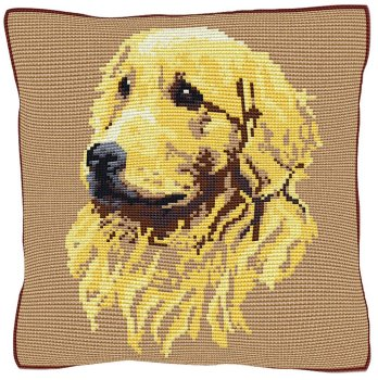 Golden Retriever Beige - Cross Stitch (printed canvas)