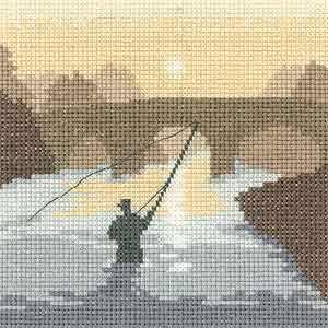 The Angler Fishing - Sepia Cross Stitch