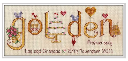 Golden Anniversary - Nia Cross Stitch Sampler