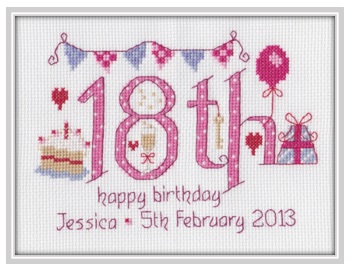 18th Birthday Sampler Kit - Nia Cross Stitch