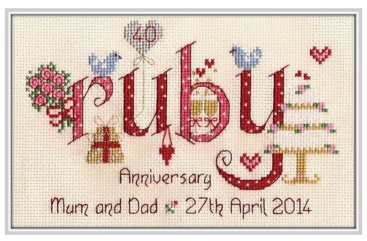 Ruby Anniversary - Nia Cross Stitch Sampler
