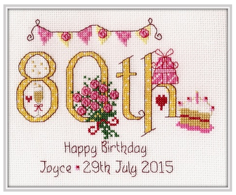 80th Birthday Sampler Kit - Nia Cross Stitch