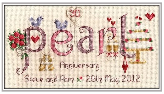 Pearl Anniversary - Nia Cross Stitch Sampler
