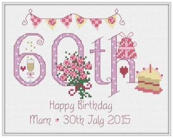 60th Birthday Sampler Kit - Nia Cross Stitch