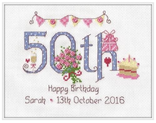 50th Birthday Sampler Kit - Nia Cross Stitch