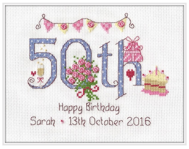 50th Birthday Sampler Kit - Nia Cross Stitch