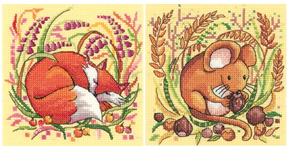Fox and Mouse cross stitch - Heritage Crafts