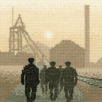 Early Shift Miners - Sepia Cross Stitch