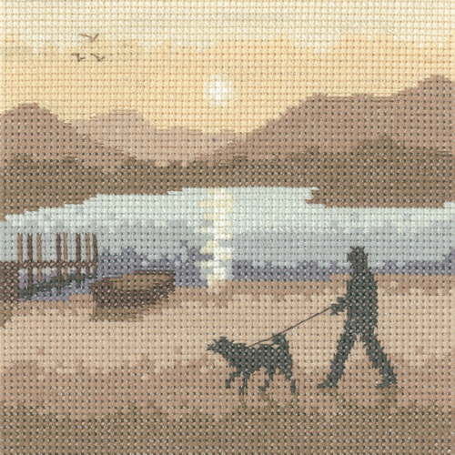 Sunset Stroll - Sepia Cross Stitch