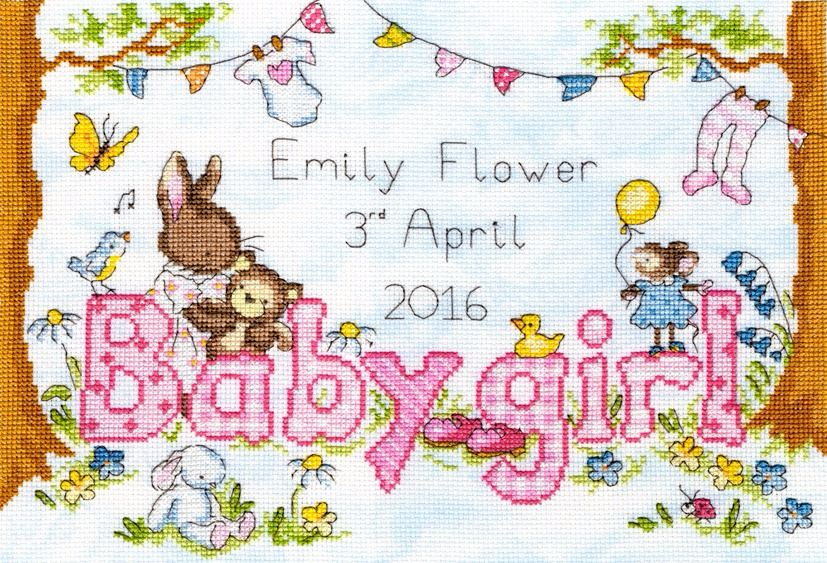 Birth Sampler - Bunny Love Girl - Bothy Threads