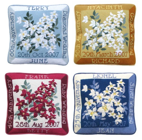 tapestry anniversary cushion kits - one off needlework