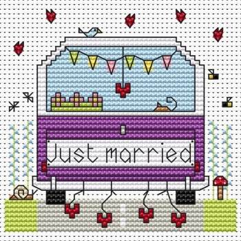 Just Married Campervan Cross Stitch Card