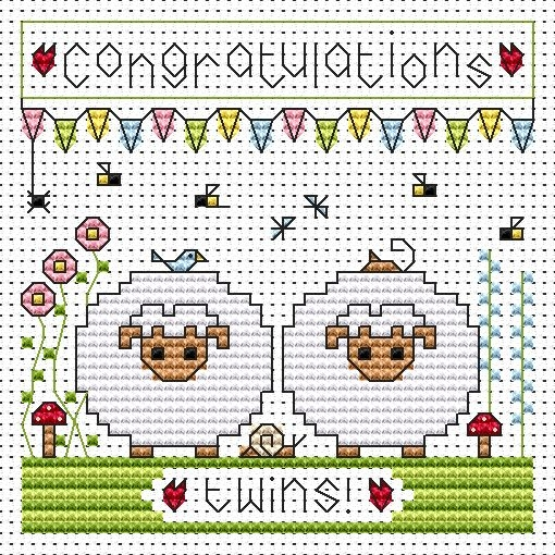 Twin Sheep Cross Stitch Card (New Baby Twins)
