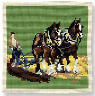 Ploughing -  Cross Stitch Kit (printed canvas)