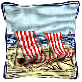 Deckchairs - Cross Stitch Kit (printed canvas)
