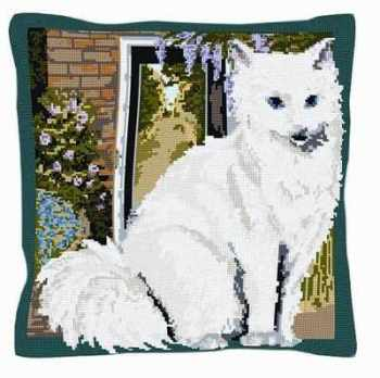 Grace - White Cat Tapestry Kit - Brigantia