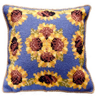 Sunflowers Blue - Cross Stitch Kit (printed canvas)