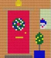 Christmas Door - Starter Cross Stitch (Printed Canvas)