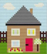 House - Starter Cross Stitch (Printed Canvas)