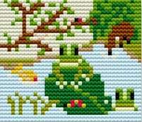 Frogs - Starter Cross Stitch (Printed Canvas)