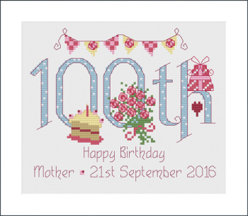 100th Birthday Sampler Kit - Nia Cross Stitch