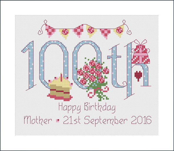 100 Years Birthday Sampler Kit - Nia Cross Stitch