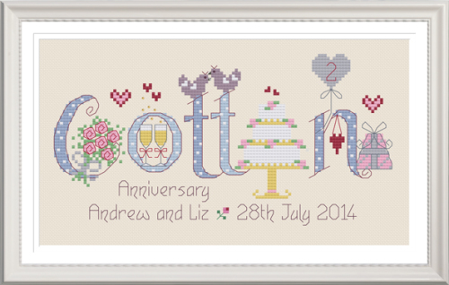 Cotton Anniversary 2 Years - Nia Cross Stitch