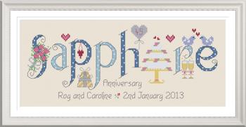 Sapphire Anniversary 45 Years - Nia Cross Stitch