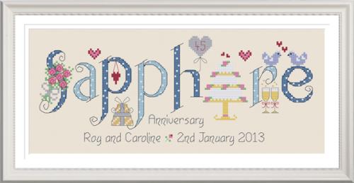 Sapphire Anniversary 55 Years - Nia Cross Stitch