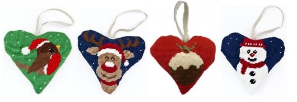 Xmas tapestry hearts