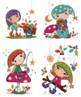 Set of 4 Elfin Wood cross stitch kits