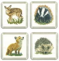 Fawn, Badger, Fox & Hedgehog Coaster Set