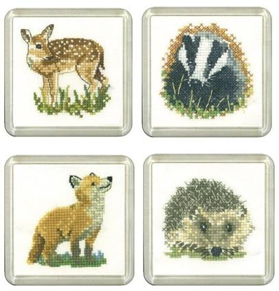 Fawn, Badger, Fox & Hedgehog Coaster Set
