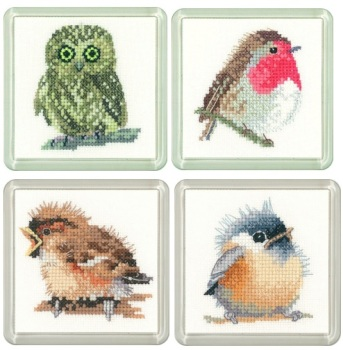Owl, Robin, Sparrow & Chickadee Coaster Set