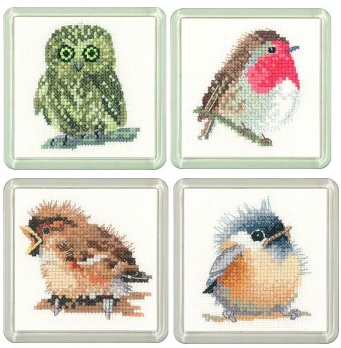 Owl, Robin, Sparrow & Chickadee Coaster Set