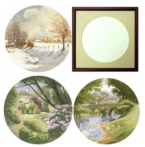 circles cross stitch kits with frame