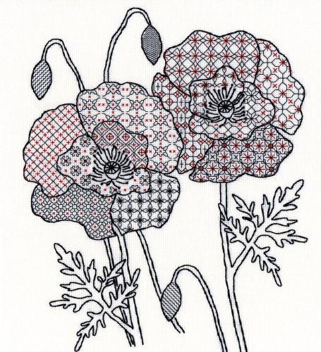 Poppy Blackwork Embroidery Kit - Bothy Threads
