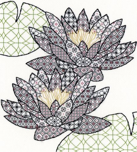 Water Lily Blackwork Embroidery - Bothy Threads