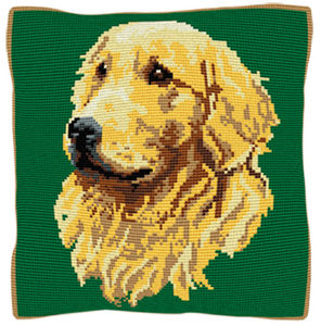 Golden Retriever Green - Cross Stitch (printed canvas)