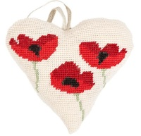 Poppies Lavender Heart Tapestry