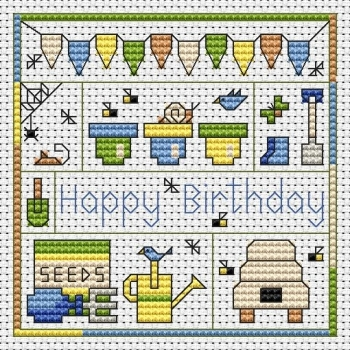 Garden Birthday Cross Stitch Card