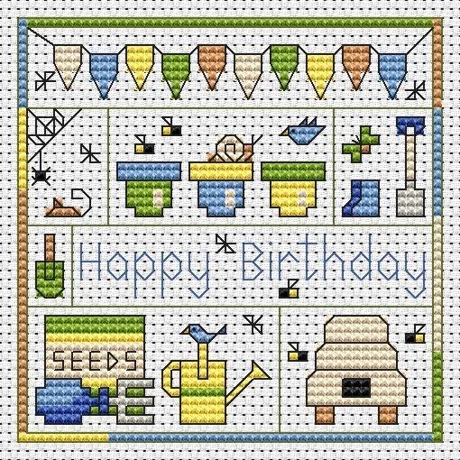 Garden Birthday Cross Stitch Card