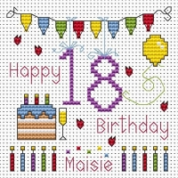 18th Birthday Bunting Cross Stitch Card